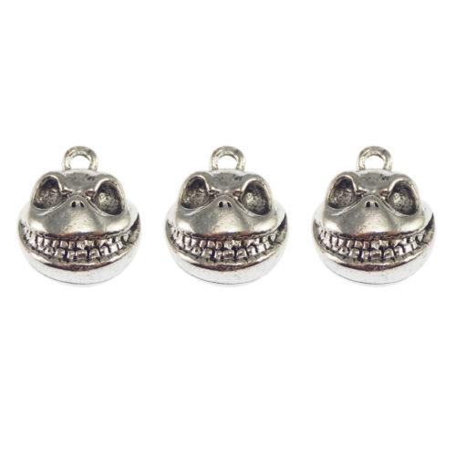 11pcs//lot Antiqued Silver Frog Skull Shape Alloy Pendants Jewelry Crafts 14*16mm