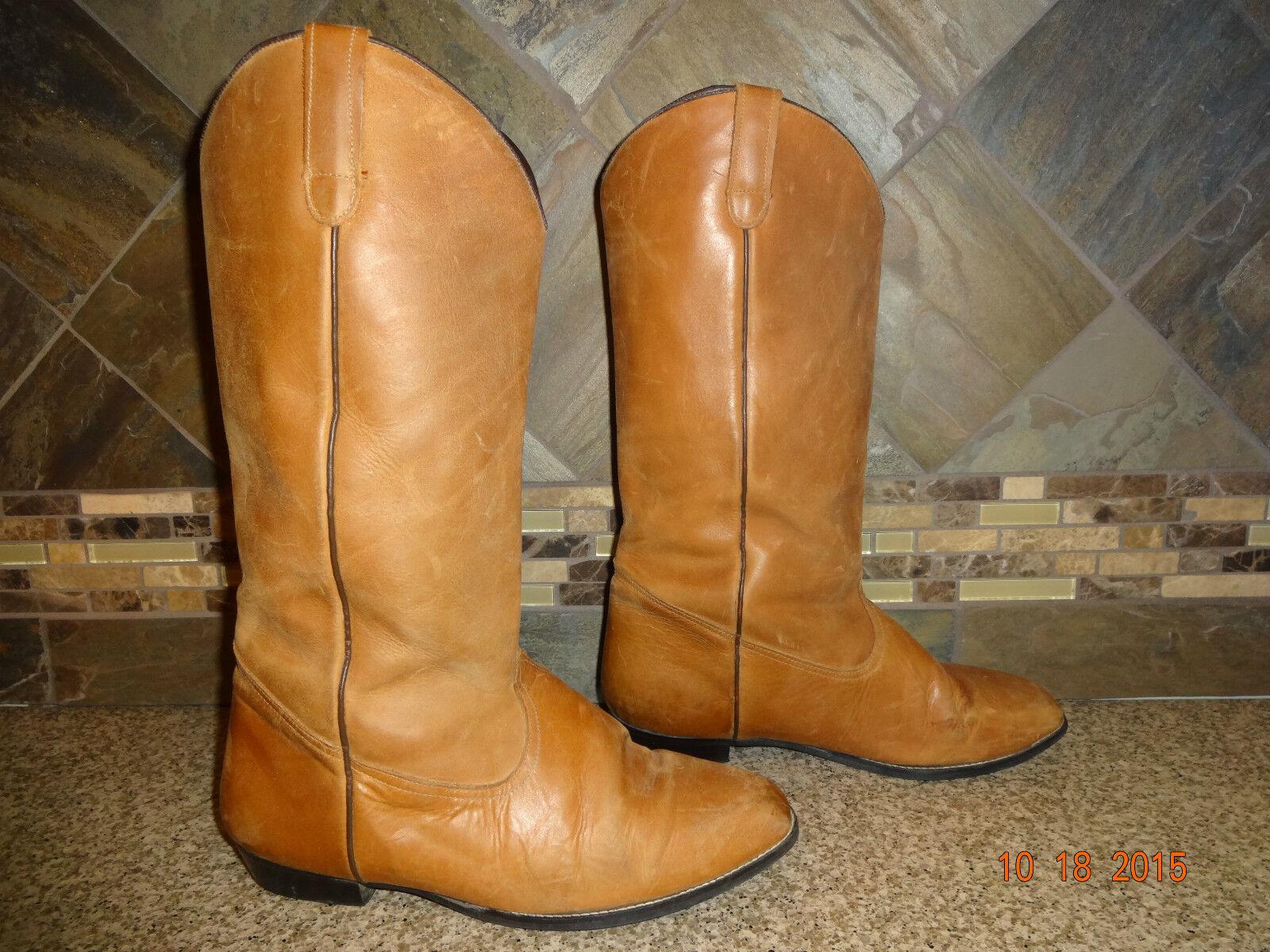 Vintage Womens Sz 8.5WW Camel Brown Leather Plain Cowboy Boots