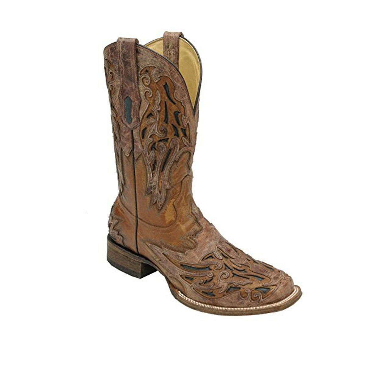 CORRAL Men's Tan/Cognac With Green Inlay Square Toe Cowboy Boots A2827