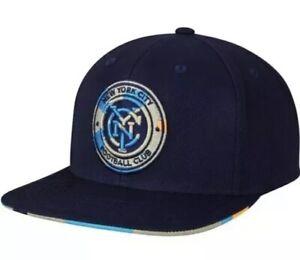 8acacd96859 adidas New York City FC Navy Neon Logo Snapback Adjustable Hat MLS ...