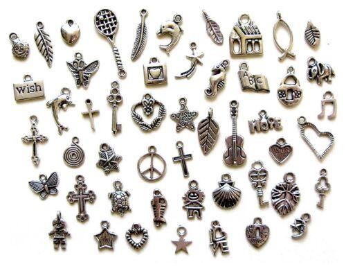 50 Breloques argentées /_ LOT MIX DIVERS au choix /_ Perles charms création bijoux