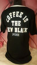 Victorias Secret PINK Lace Up Sleep Shirt COFFE IS NEW BLACK M medium NEW