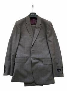 Paul-Smith-034-Floral-034-Taupe-mit-Finte-Streifen-2-btn-Einzel-Brstd-Suit-36-46