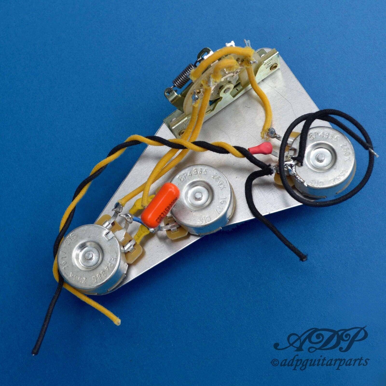 Satz Steuerung Elektronisch Vintage Kabel Verdrahtet auf Ground Shield Alu Strat