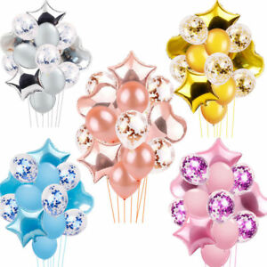 14X-Foil-Latex-Confetti-Balloons-Helium-Birthday-Party-Wedding-Decor-Supplies