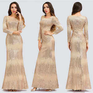 Details About Uk Ever Pretty Sequin Formal Long Evening Party Dresses Wedding Guest Prom Gowns