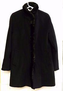 Cappotto Cappotto pelliccia chiusura taglia in 10 Vguc con lana Tracy donna da e a 4 Ellen nera di 3 scatto misto SqSvx