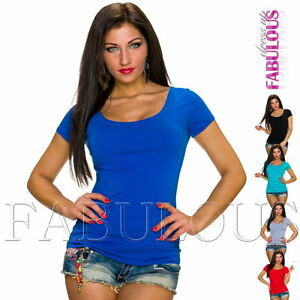 Sexy-Women-039-s-Short-Sleeve-Scoop-Neck-Casual-Party-Summer-Top-Shirt-Size-8-10-S-M