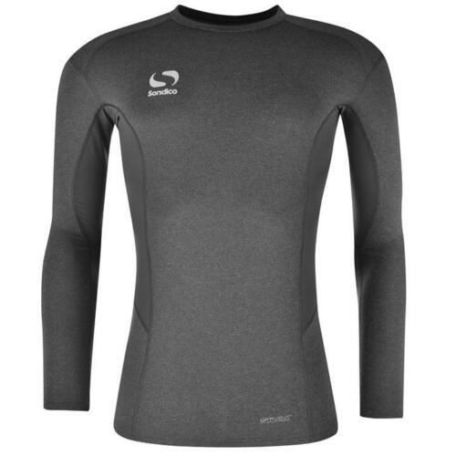 BOYS JUNIORS GREY MARL SONDICO LONG SLEEVE CORE COMPRESSION WINTER BASE LAYERS