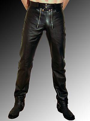 Lederhose Herren Lederjeans neu schwarz Männer Zimmermannhose leather trousers