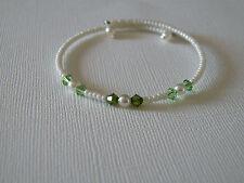 Bracelet  Enfant couleur Ivoire/vert anis/kaki pr robe de cérémonie fille perles