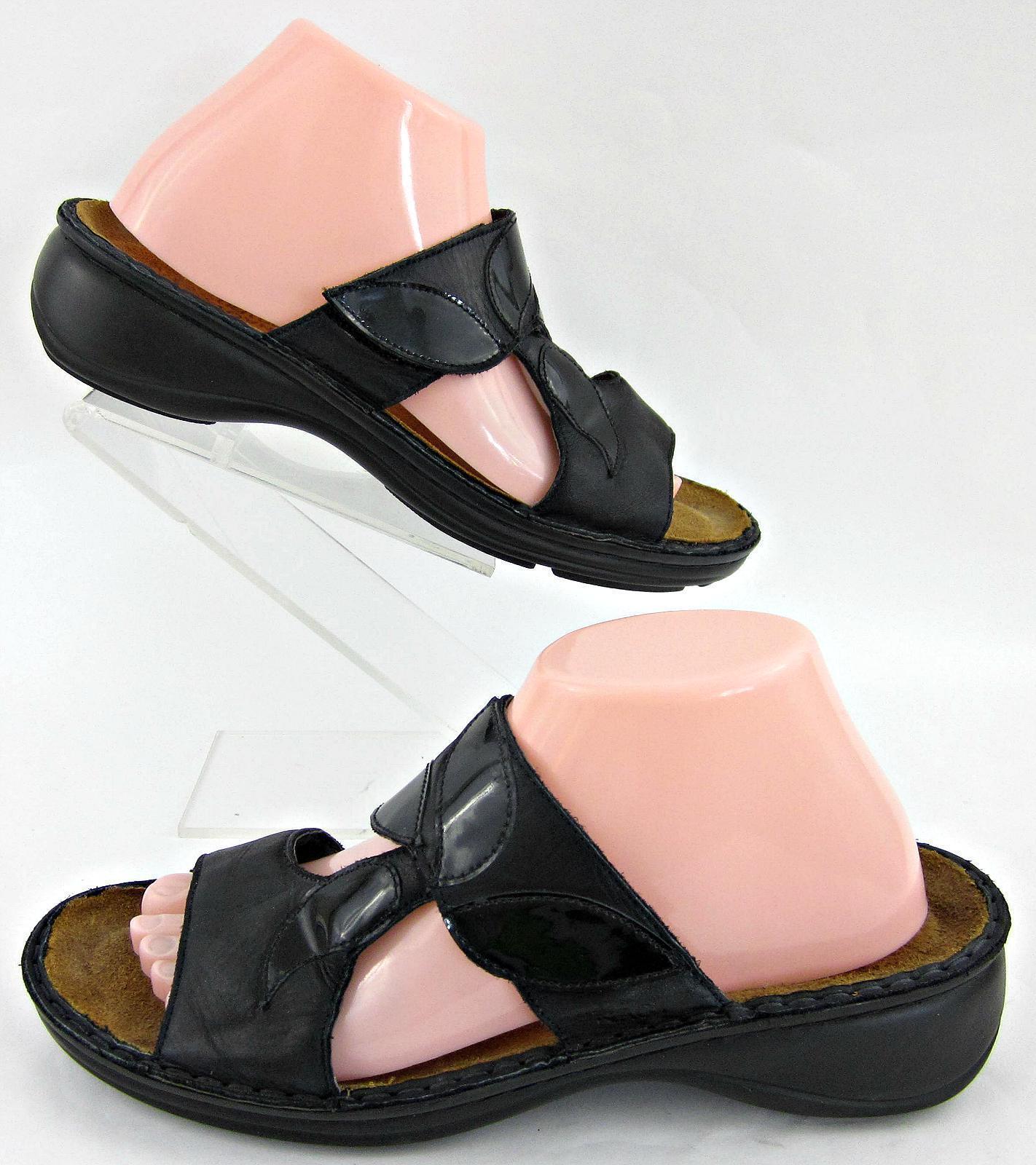 Naot Sandalias De Mujer De De De Diapositivas De Cuero Negro Gancho-n-Loop Vamp EU 41 US 10  venta