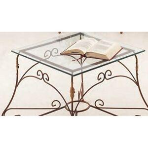 Tavolino in Ferro Battuto Bronzo Piano in Vetro | eBay