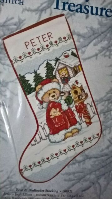 Candamar Counted Cross Stitch Bear and Bird Feeder Stocking Christmas Snow Teddy