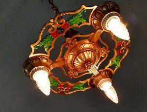 Antique 20s 30s Ceiling Light Fixture Art Nouveau Chandelier Rewired ...