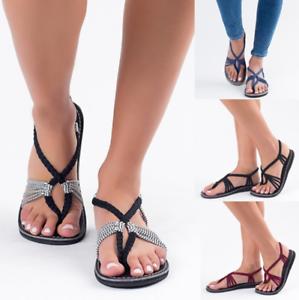 c541d4573ceb3 Details about 2019 Womens Roman Retro Sandals Flip Flops Beach Flat Hee  Shoes Uk Sz35-43