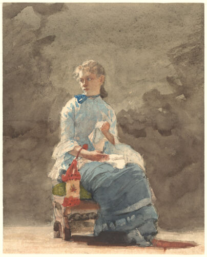 Fine Art Print Young Woman Sewing Winslow Homer Watercolor Reproductions