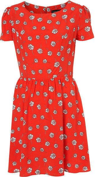 BNWT Topshop rot Orange Daisy Flower Flippy Skater Tea Dress Dress Dress - Größe 16 | Förderung  | Erlesene Materialien  | Reichhaltiges Design  eecab4