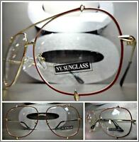 Classic Vintage Retro Style Clear Lens Eye Glasses Gold & Brown Fashion Frame