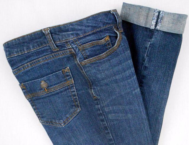 Faded Glory Capris Stretch Jeans Size 8 Blue Denim Cuffed Pants Women