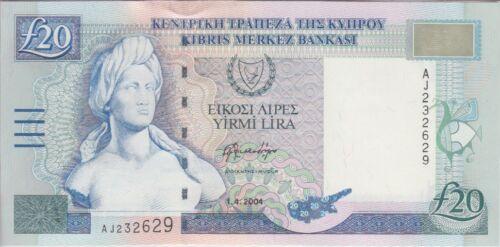 Cyprus Banknote P63c 20 Pounds 1.4.2004 AU-UNC