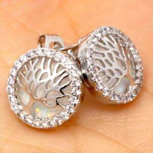 Gorgeous-White-Fire-Opal-Stud-Earrings-Women-Wedding-Gift-14K-White-Gold-Plated