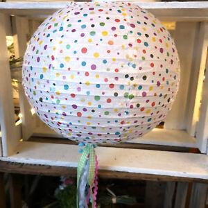 Flowerpower-25cm-Boho-Lampenschirm-Tupfen-Lampion-Papier-Muster-Lampe-Rund
