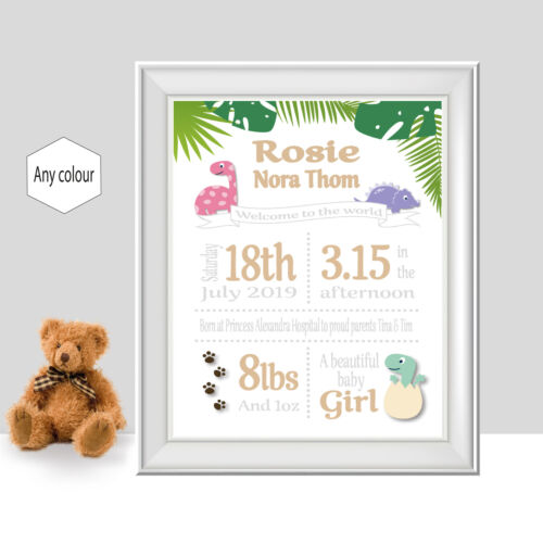 Dinosaur New Baby Gift Birth Details Personalised Birth Announcement Print