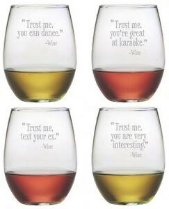 Stemless Wine Glasses Trust Me Set 4 Hand Etched Gifts Funny Quotes