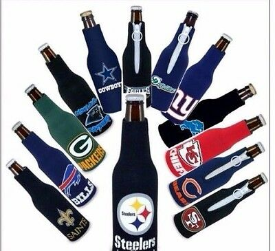 2 NFL NATIONAL FOOTBALL LEAGUE BEER SODA WATER BOTTLE ZIPPER KOOZIE HOLDER