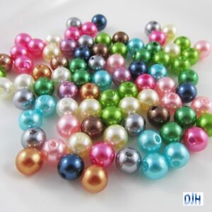 200 x Acrylic Pearl Beads 6mm Mixed Colour Round