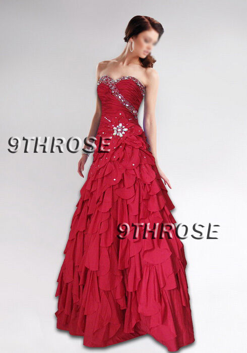 BELLE OF BALL  BEADED EVENING PROM FORMAL DRESS WITH PETAL-SKIRT; RED AU 10 US 8