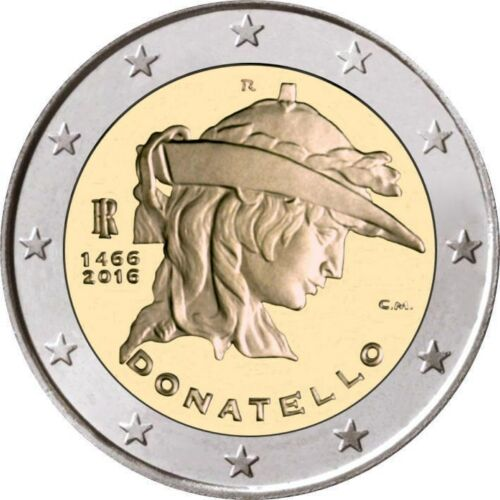 2016 Italy € 2 Euro Uncirculated UNC Coin Donatello 550 Years