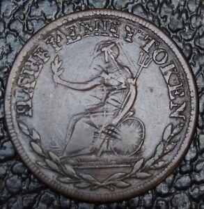 1811-WELLINGTON-HALF-PENNY-TOKEN-STRONG-Large-Leaves-Over-Strike-No-Date