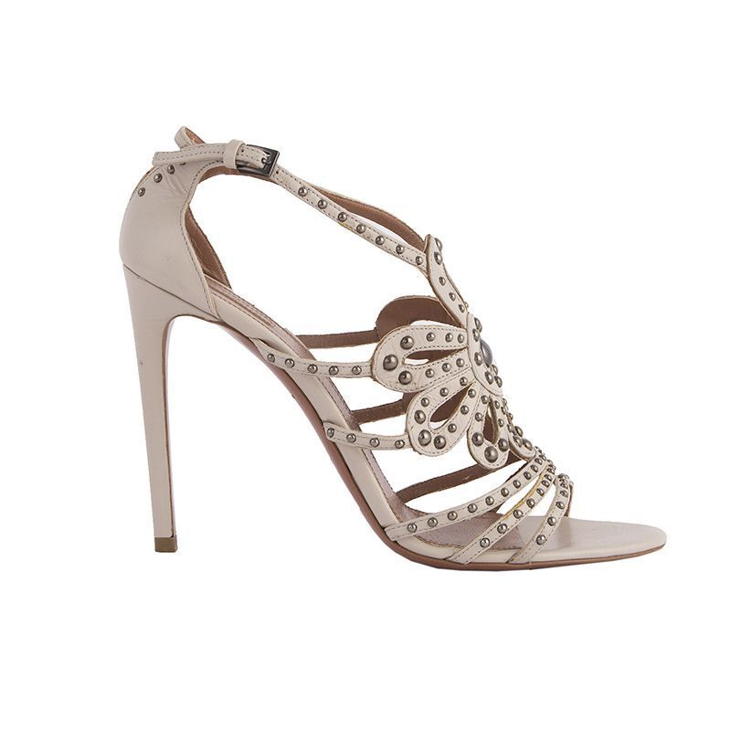 52272 auth ALAIA pale beige leather STUDDED Sandals shoes 40.5