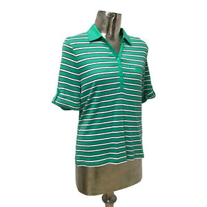 Olsen Top T-Shirt Polo Cotton Green UK L 16 (EU 44) NEW Women's RRP £59