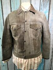 Vintage 1950`S Levi Shorthorn Cuero De Vaca Cuero Gamuza Stud Up Chaqueta occidental 38/40