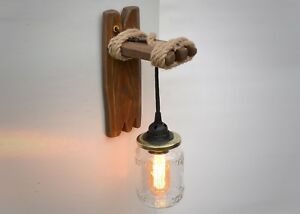 Details About Handmade Wooden Wall Sconce Light Canning Jar Lighting Lamp