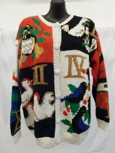 Susan Bristol Hand Knitted Ugly 12 Days Christmas Sweater Swan