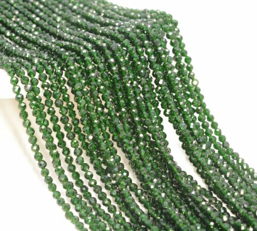 """3MM GREEN SANDSTONE GEMSTONE GRADE AAA MICRO FACETED ROUND LOOSE BEADS 15.5/"""""""