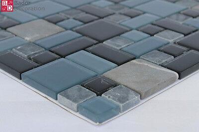 Glasmosaik Mosaikfliesen Mosaike Fliesen marmoriert Glas Schwarz Blau Grau Neu