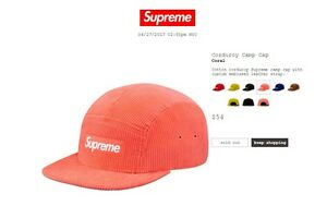 62916afe8c3 Image is loading Supreme-Corduroy-Camp-Cap-Coral