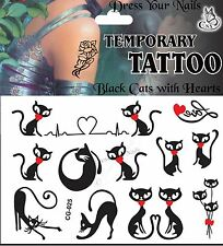 Black Cat Rojo corazón lindo Cartoon Jokey organismo temporal Tattoo Para Niños-cg-025