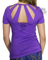 Harley-davidson Ladies Spark Plug Open Back V-neck Purple Short Sleeve T-shirt