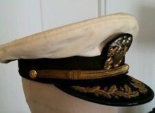 Casquette US Navy de Commander coiffe blanche - visière brodée - ORIGINALE WW2