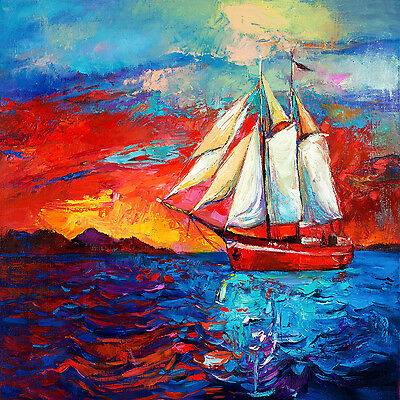 Australian art print tall ships nz sunset boat seascape ocean painting 50cm