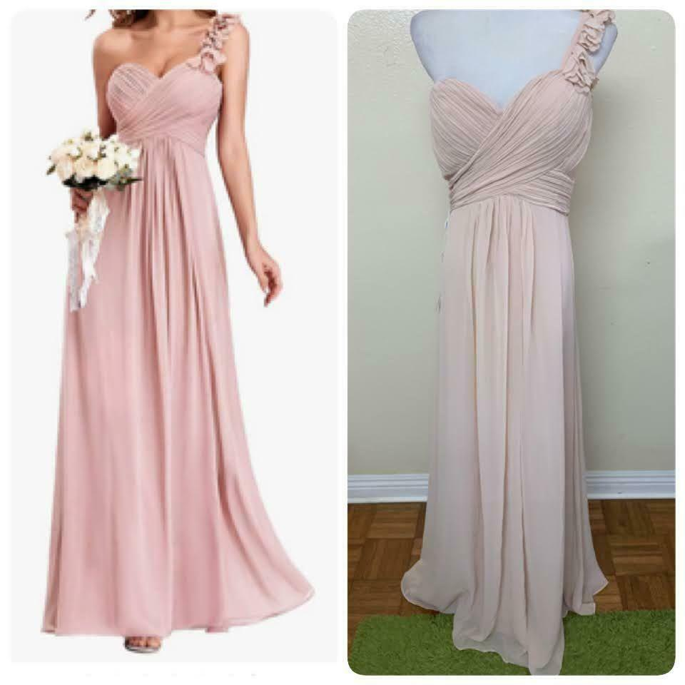 Ever-Pretty Women's One Shoulder A Line Ruched Chiffon Dress Sz 4 Blush 9768