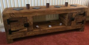 Image Is Loading Tv Stand Chunky Rustic Side Table Wooden Sleeper