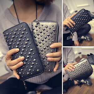Women-Leather-Punk-Rivet-Clutch-Wallet-Card-Cash-Phone-Holder-Long-Purse-Handbag