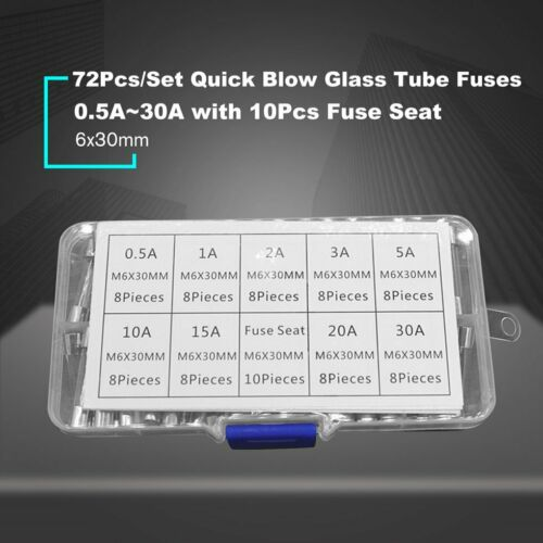 72PCS 6x30mm Fast Blow Glass Fuse Assorted Mixed Kit Insurance Tube 0.5A-30A KW